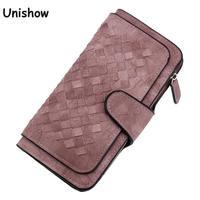 Fashion Knitting Women Wallet Matte Pu Leather Wallet Long Pattern Purse Women Brand Ladies Wallet Purse