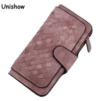 Fashion Knitting Women Wallet Matte Pu Leather Wallet Long Pattern Purse Women Brand Ladies Wallet Purse