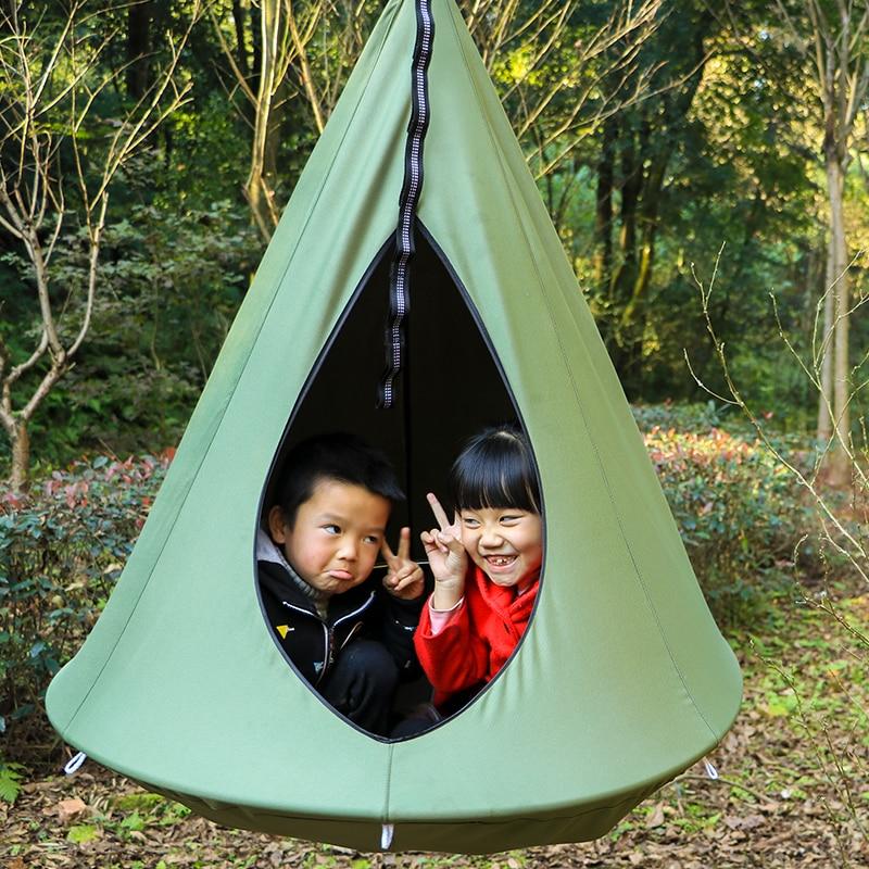 Крытый Открытый детей висит стул хлопок гнездо с надувной Подушки сад детские качели спальный мешок под гамак