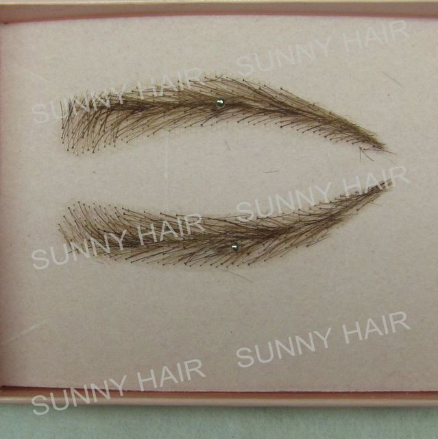 EB013 invisible swiss lace relastic hand made human hair false eyebrow dark brown 2# color 4