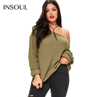 INSOUL Plus Size Women Clothing Sexy One Shoulder Sweater Loose Casual Full Sleeve Tops Big Size Pullover Jumper 3XL 4XL 5XL 6XL