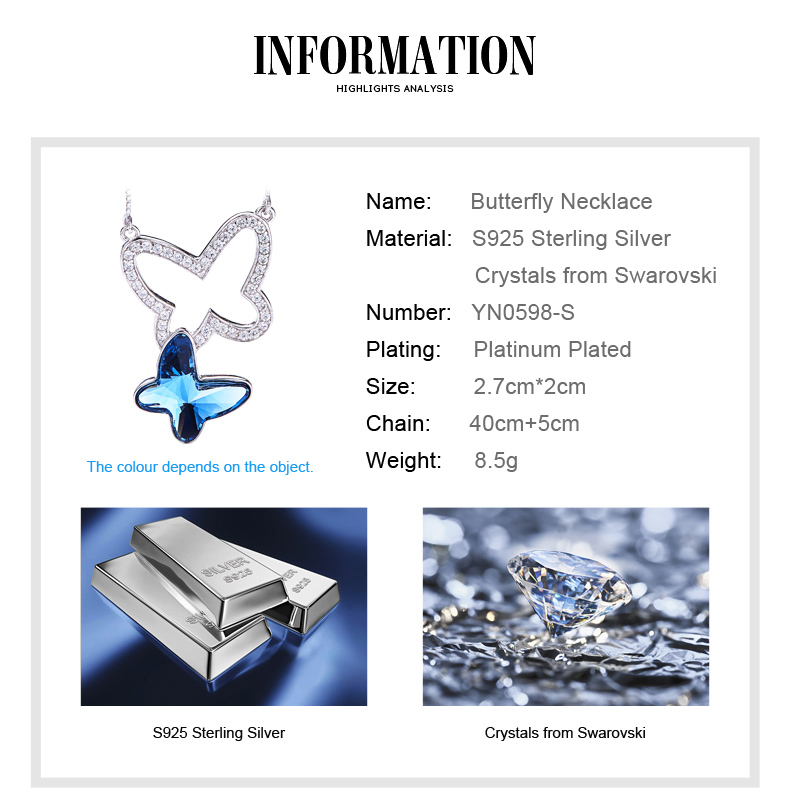 Blue Crystals from Swarovski Butterfly Necklace (3)