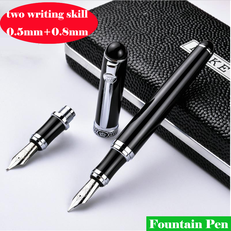 2017 Double nib High quality Iraurita Fountain pen Full metal luxury pens Caneta Stationery Office school supplies 03814 italic nib art fountain pen arabic calligraphy black pen line width 1 1mm to 3 0mm