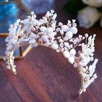 Королевский роскошный ручной характер Shell невесты ленты для волос Свежий жемчуг Свадебная Диадемы короны Hairbands свадебные аксессуары для во
