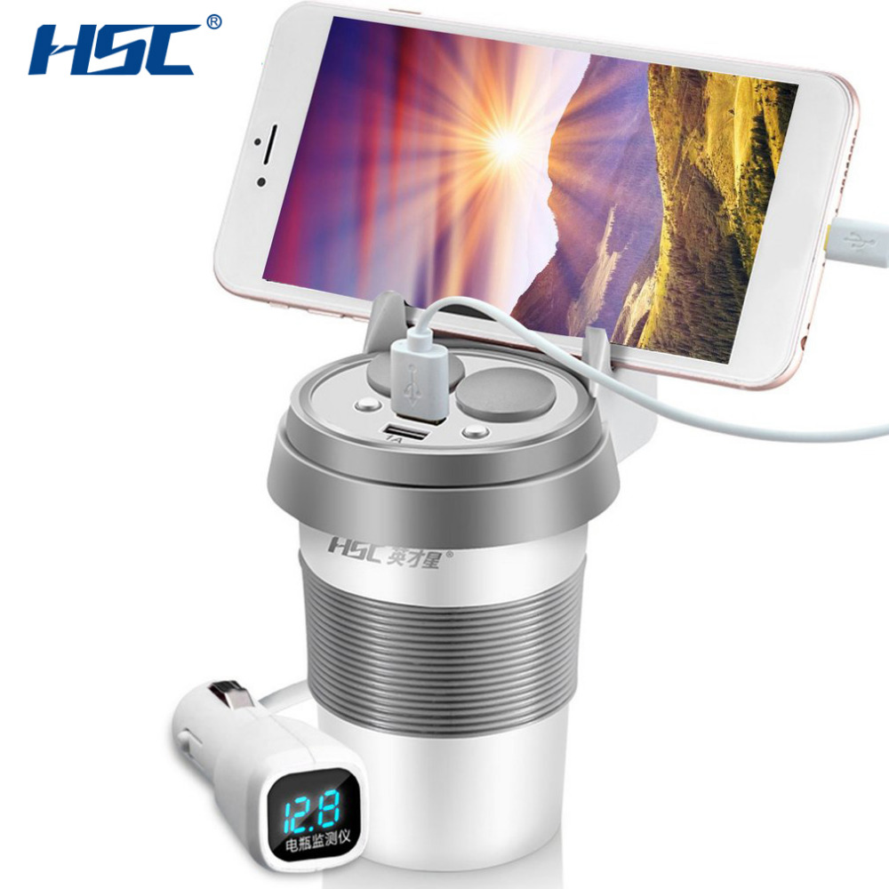 HSC HSC-500D 12-24V Dual USB Car Charger Cup With Phone Holder Voltage Breaker Car Cigarette Lighter Socket Adapter Hot Selling yi yi mini car cigarette lighter charger w dual usb white 12 24v