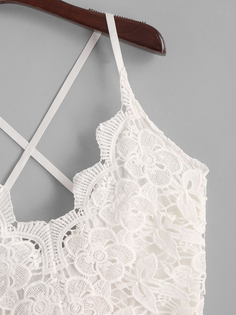 ZAFUL Playsuits Knotted Back Lace Panel Floral Cami Romper Sleeveless Criss-Cross Casual Women Sexy Spaghetti Strap Bodysuits 2