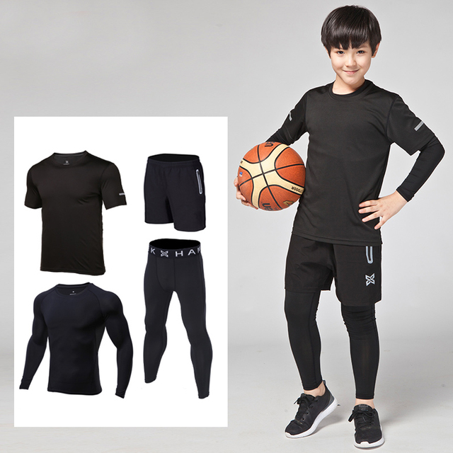 109a4cd38f83 Children compression sets tights boys stretch exercise training suit quick dry  running basketball football training jerseys