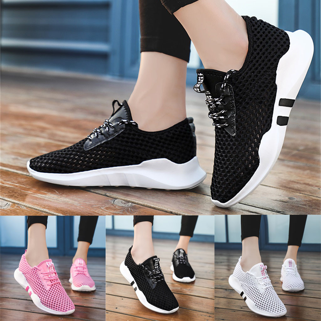 Women's Leisure Breathable Shoes Summer Ladies Lightweight Hollow Mesh Sneakers Students Casual Shoes Maternity Flat Shoes@20(China)