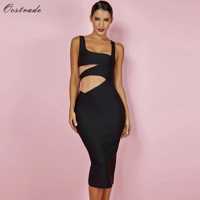 Ocstrade 2018 Black Bandage Dress XL New Summer Pencil Cut Out Bodycon Midi  Dresses for Women Dress Bandage Sexy Club Party Sale db62d2848874