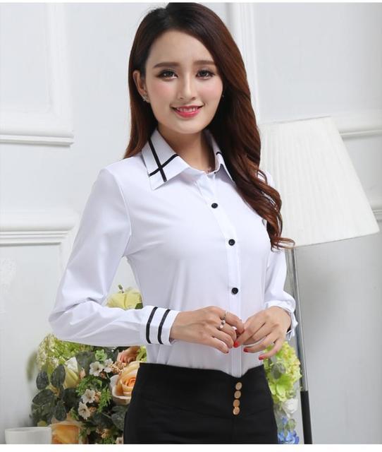 2018 Primavera Verão Camisa Polo mujer Mulheres Feminino Manga comprida  Lapela Branca feminina Camisas Casual Senhora 310b4630ed1b9