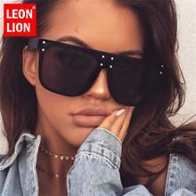 LEONLION New Flat Top Sun Glasses Oversized Goggles Mens Square Sunglasses Women