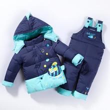 Ruso de invierno Ropa para Niños Niñas Ropa de invierno para niños parka chaquetas vestido para las niñas ann&snow moda lindo de los pescados