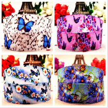 New 7/8 (22mm) 10 yards blue butterfly pattern cartoon silk ribbon hair accessories bow DIY packaging tape