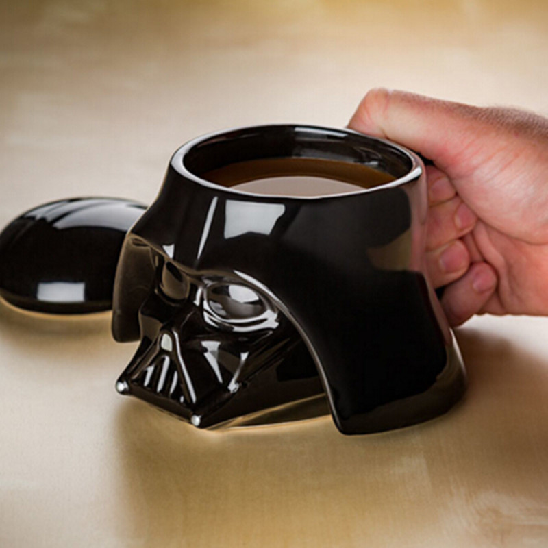Creative 3D Star Wars Coffee Mug with Lid Cover Handle Darth Vader Ceramic Mug Stormtrooper Black White Porcelain Drinking Mug
