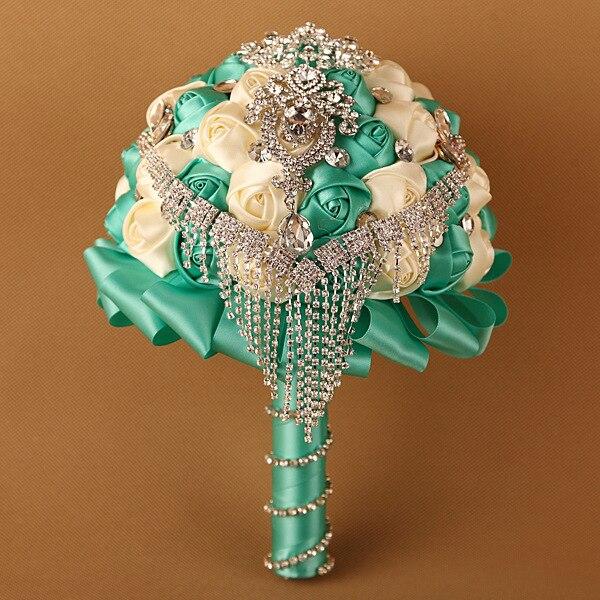 Роскошный горный хрусталь зеленый искусственный свадебные букеты рамо Novia Mariage невесты Accessoires