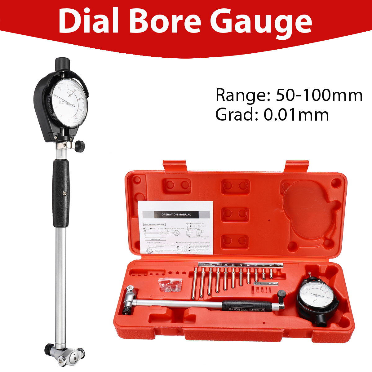 цена на 50-100mm Grad 0.01mm Measuring Indicator Resolution Tool Steel+ABS Range Dial Bore Gauge Movable Probe/Changeable Durability