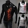 Fashion Monogram Men Elastic Undershirt Slim Vest  Bodybuilding Tanktop Male Fitness Singlets Sleeveless Street Workout