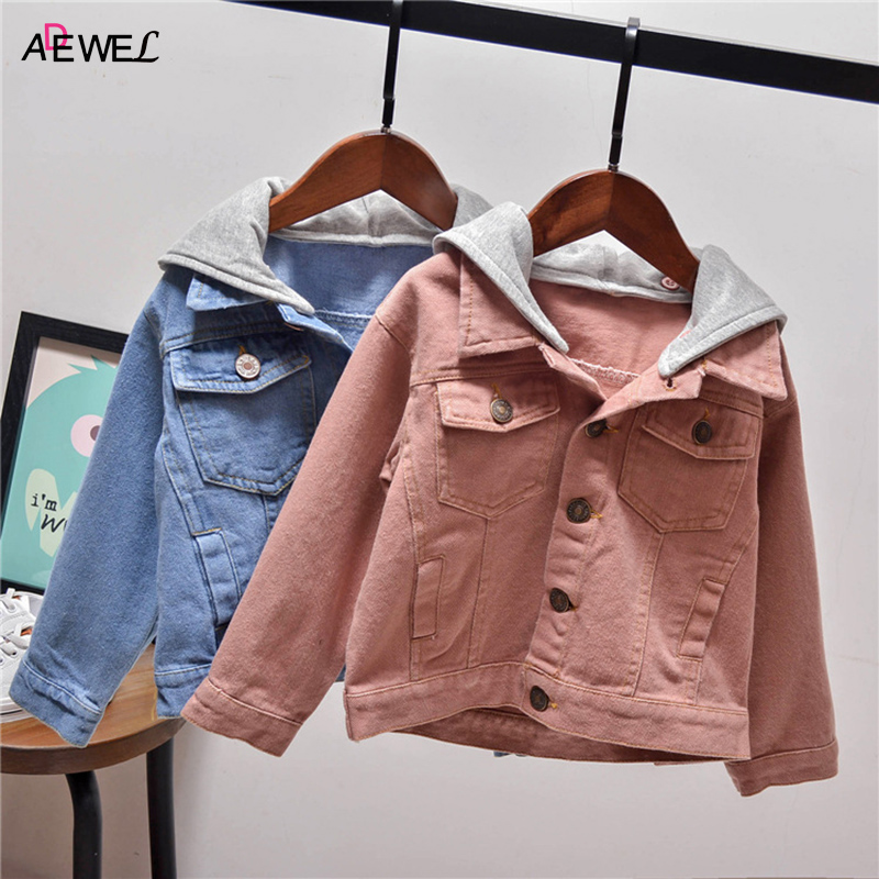 Toddler Children Outerwear Clothing 2018 New Spring Autumn Kids Denim Jackets Hooded Casual 2 3 4 5 6 7 Year Boys Girls Coats kids jackets for girls spring autumn style toddlers children clothing solid casual 2 3 4 5 6 7 8 year girls coat gray navy