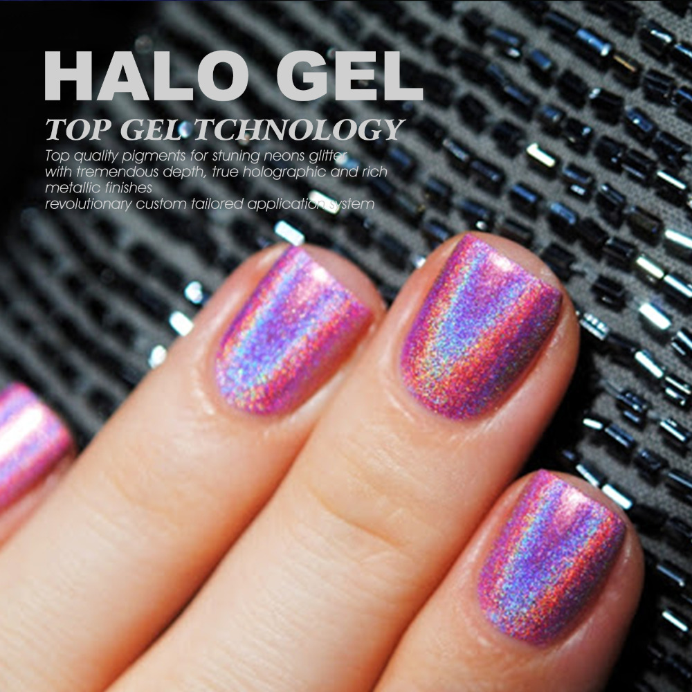 Gel Len Arrival Holographic Halo Glitter Nail Polish Pink Colors Soak Off Led Uv Lacuqer In From Beauty Health On Aliexpress