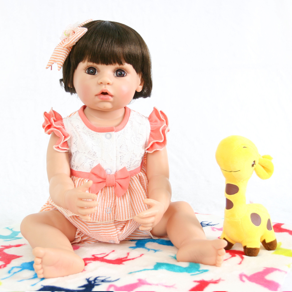 Baby Reborn Babe Doll 56cm Silicone Rebirth Doll Washable Dolls Menina Doll With Yellow Giraffe Gift For Children Interactive Co