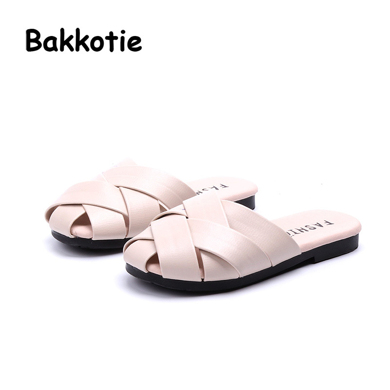 Bakkotie 2018 New Summer Fashion Baby Girl Weave Slipper Children Casual Beach Pu Leather Pink Shoe Kid All-Match Soft Slides
