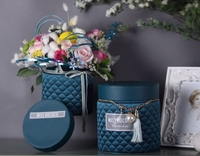2PCS Round Flower Box High Bucket Flower Bouquet Packing Gift Box Boutique Flower Machine Silk Imitation