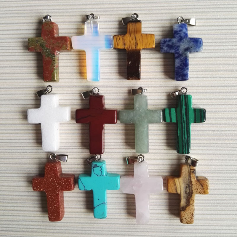 Free shipping 2018 fashion natural cross stone pendants Charms cross necklace fit  jewelry making 12PC mixed lot