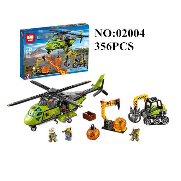 02004 Model Building Blocks Kits Compatible With  City 60123 Helicopter Volcanic Expedition Brick Model Building Toys