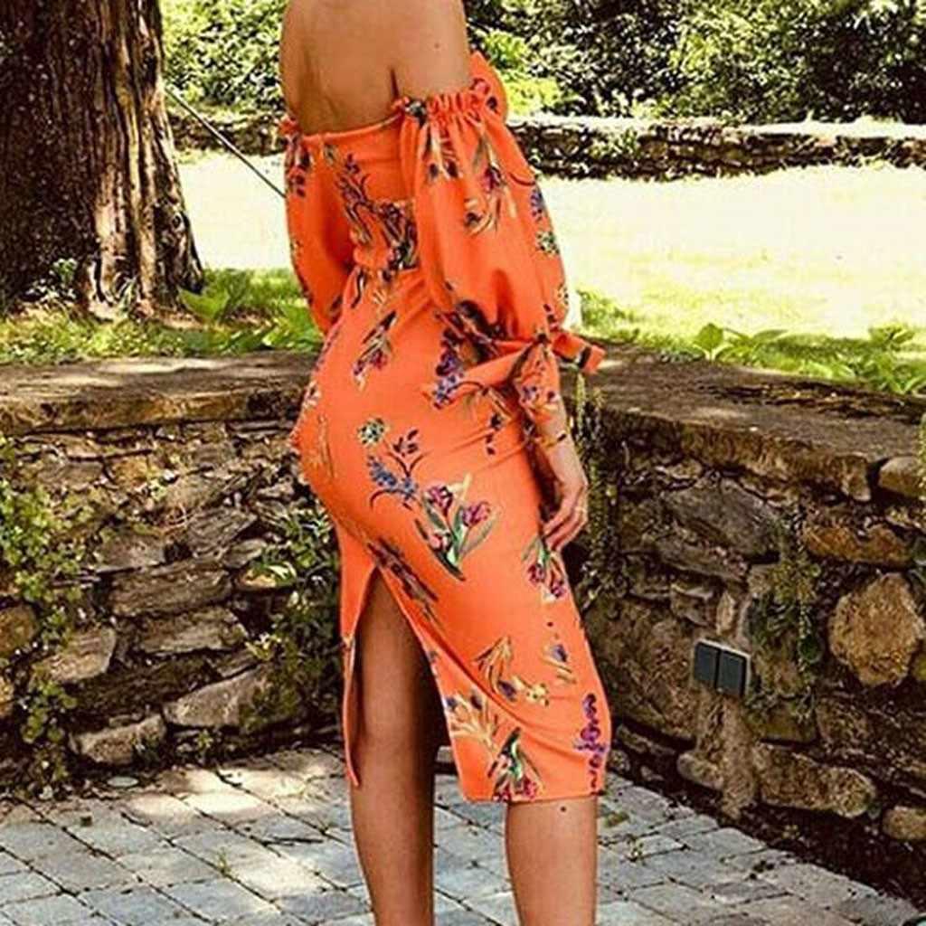 Estate delle donne del Locale Notturno Sexy Halter Senza Spalline Del Vestito Del Sacchetto Dell'anca Split Stampa Floreale Senza Maniche Wrap Abiti Guaina Aderente Vestito Estivo