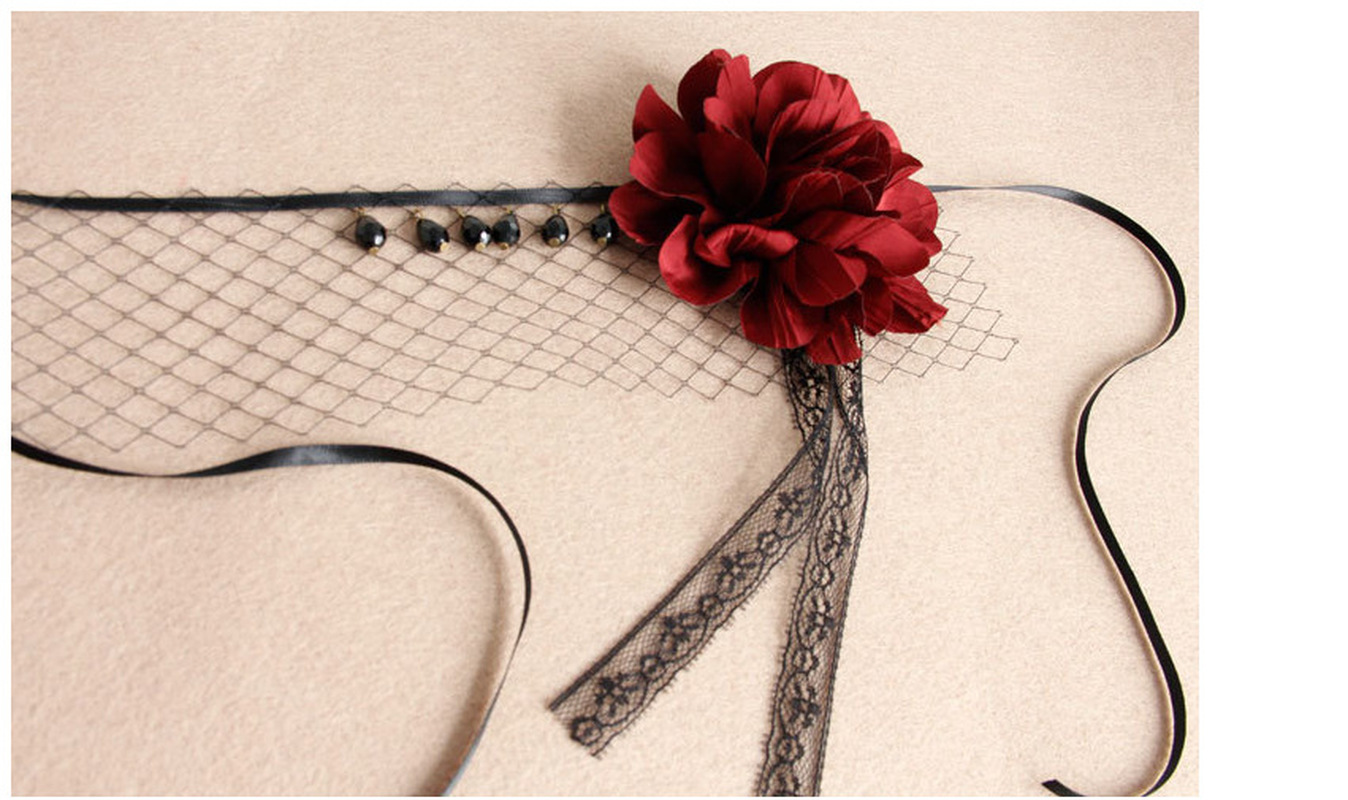 Stretch Headband Costume Ball Party Halloween Accessory Lady Elegant Crystal Sexy Gothic Flower Black Veil Half Face Eye Mask in Party Masks from Home Garden