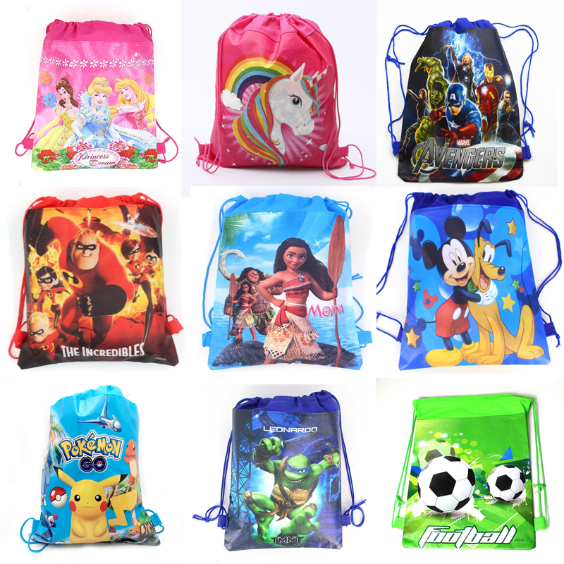 1pcs Cartoon Mickey Mouse Avengers Non-woven Fabrics Drawstring Backpack Schoolbag Shopping Bag Storage Bag Birthday Party Decor