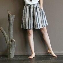 Летние женские шорты из хлопка и льна, модные повседневные шорты с широкими штанинами размера плюс, большие размеры, шорты с полосатым принтом