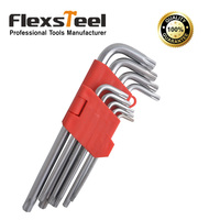 Top Quality 9 Pieces CRV Chrome Vanadium Steel Torx Hex Key Wrench Set T10 T50 With