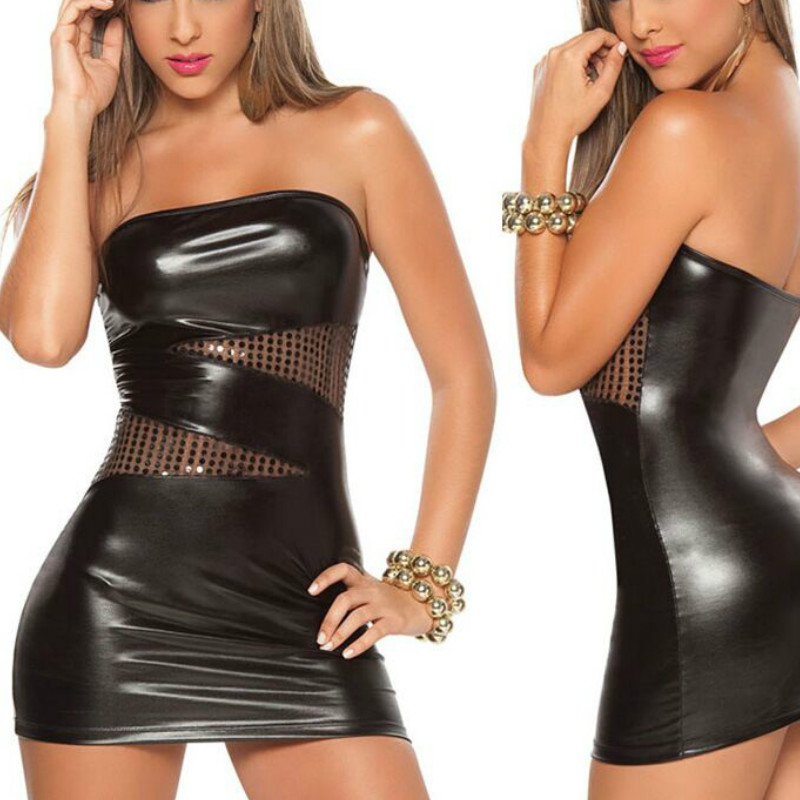 CFYH 2018 New Women Sexy Stripper Mini Dress Black Silver Faux Leather Strapless Sequins Chemise Ladies Clubwear XXXL