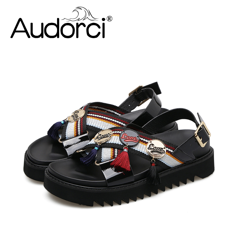 Audorci 2018 Women's Summer Shoes Fashion 3 Stitching Metal Buckle Flat Sandals Woman Casual Comfortable Sandals Size 34-40 discount 2018 fashion leather casual flat shoes women sandals summer shoes flat hollow comfortable breathable size 34 44