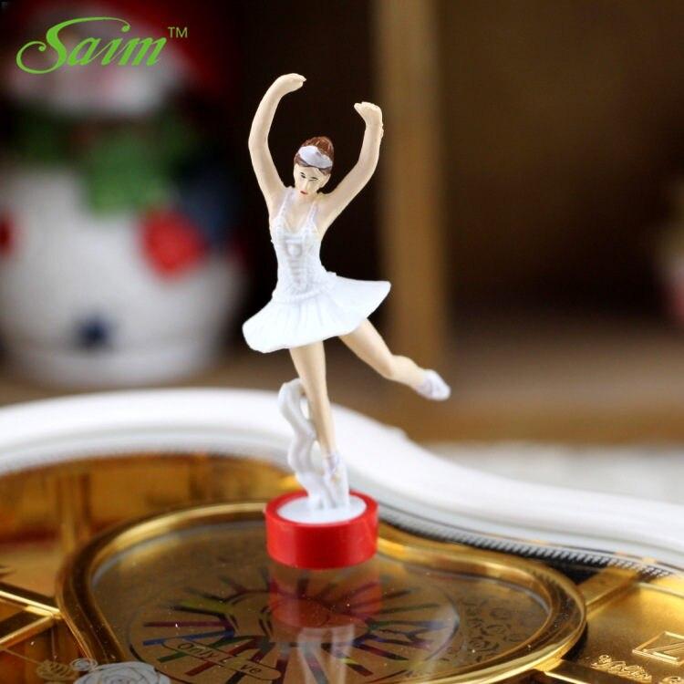 Saim Rotating Music Box Heart Casket Organizer Dancing Ballet Girls Music Jewelry Box Eight tone Jewelry