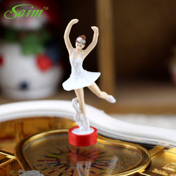 Saim Rotating Music Box Heart Casket Organizer Dancing Ballet Girls Music Jewelry Box Eight tone