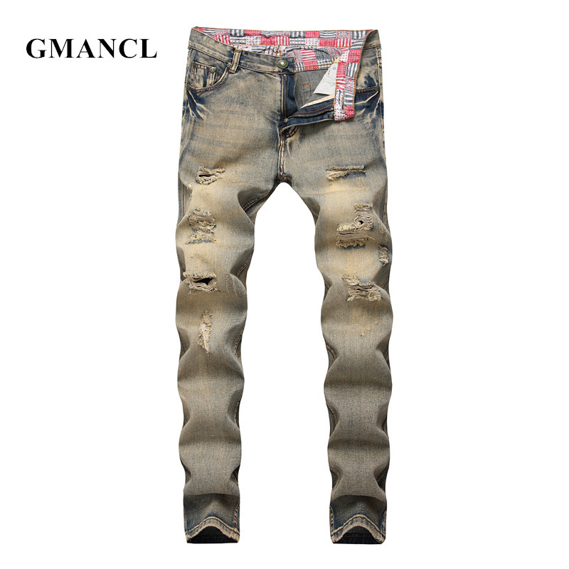 GMANCL New 2018 Men Slim Fit Knee Holes Jeans Streetwear Hip Hop Straight Moto Retro yellow Ripped Denim Trousers Plus Size 40