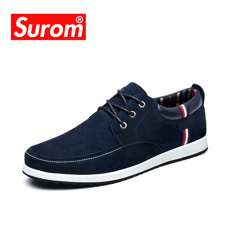 SUROM Men's Leather Casual Shoes Moccasins Men Loafers Luxury Brand Spring New Fashion Sneakers Male Boat Shoes Suede Krasovki high quality 2016 new brand aqua two shoes men boat shoes full grain leahter loafers shoes for men us5 5 10 casual shoes men