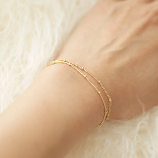 Summer Bracelets Bangles Dainty Double Layer Satellite Chain Gold Bracelet Wedding Gift