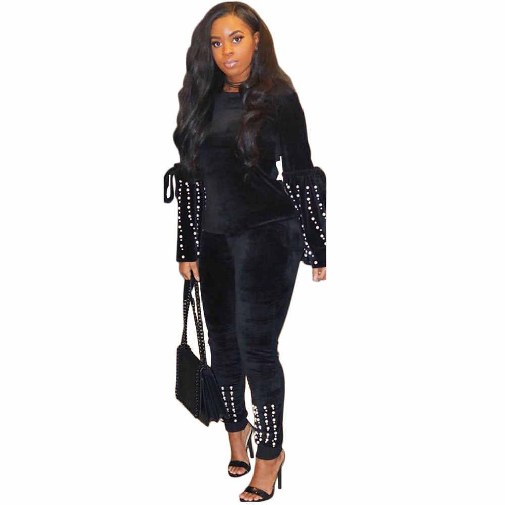 Зимние Бархатные женские толстовки с длинным рукавом и круглым вырезом, украшенные черными жемчужинами и бусинами, обтягивающие леггинсы, комплекты из двух предметов, спортивные костюмы A6091