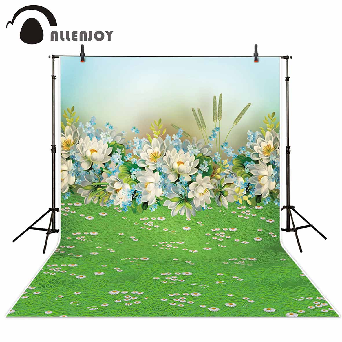 Allenjoy photographic background Grass white flowers cartoon scenery backdrop photocall Children's photography studio HD files