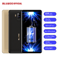 BLUBOO S3 8500 мАч 6,0 ''FHD + смартфон 4 ГБ Оперативная память 64 ГБ Встроенная память MTK6750T Восьмиядерный 21MP + 5MP двойной камеры заднего NFC OTG 4 г мобильног