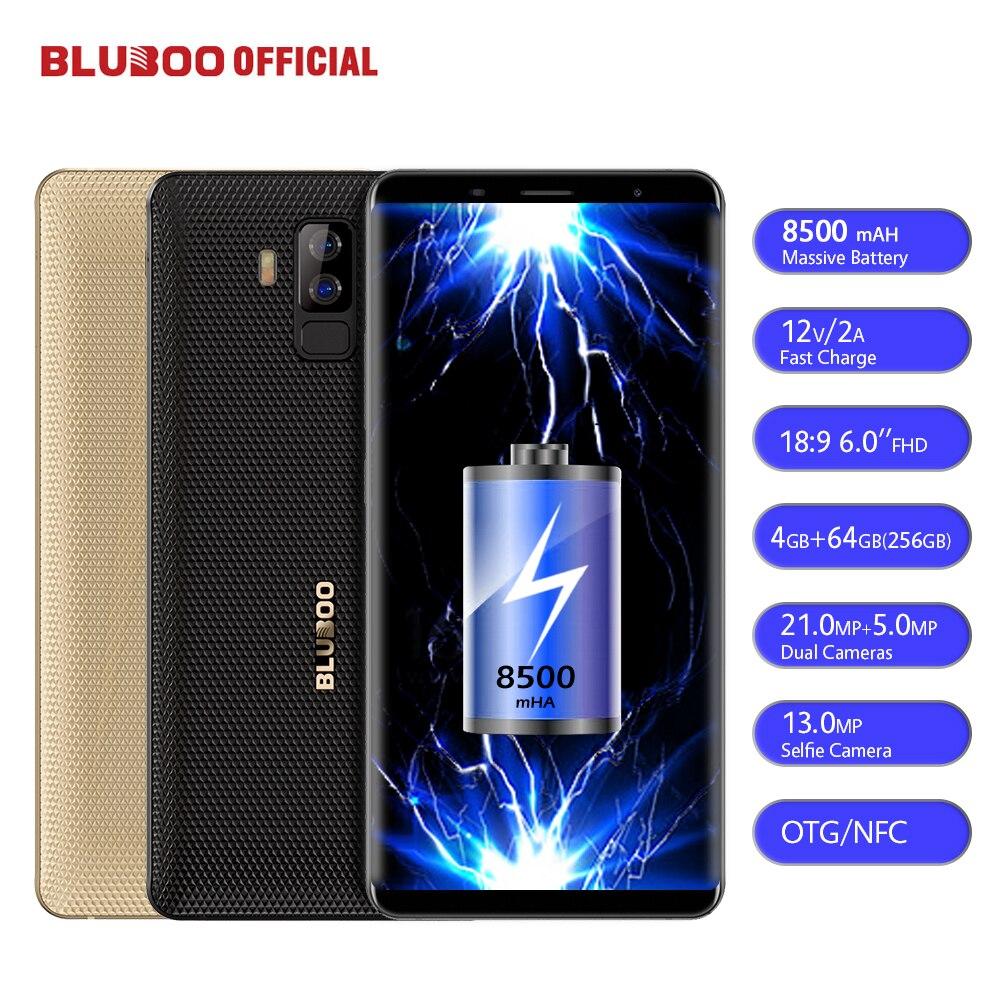BLUBOO S3 8500 mah 6.0 ''FHD + Smartphone 4 gb RAM 64 gb ROM MTK6750T Octa Core 21MP + 5MP Caméras Arrière Doubles NFC OTG 4g Téléphone Portable