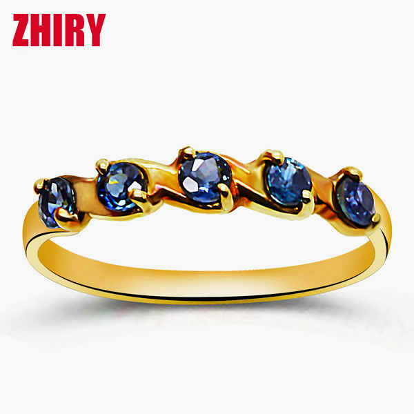 Sapphire ring k yellow gold rings  natural precious stone Gift jewelry