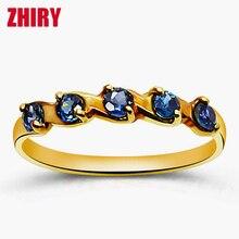 Sapphire ring 18k yellow gold rings 100% natural  precious stone Gift jewelry woman ZHIRY BRAND