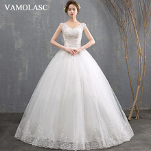 VAMOLASC Crystal Deep V Neck Lace Appliques Ball Gown Wedding Dresses Sequined Tank Backless Bridal Gowns