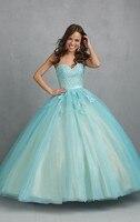 Hot Long Vestidos De 2018 15 Anos Elegant Gown Light Blue Pink Backless Lace Quinceanera Sweet 16 Plus Size bridesmaid Dresses