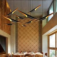 Modern loft LED hanging lamp light fixture gold black wing aluminum tube pendant lamp light for Living Room Suspension Luminaire