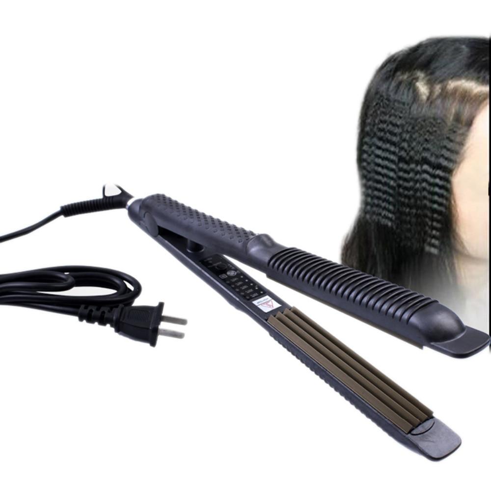 Professional Temperature Control Titanium Electronic hair straighteners tools Straightening corrugated Crimper Waves Iron